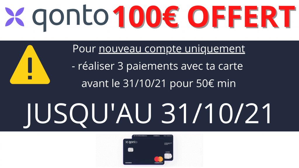 code promo qonto 100€ offert